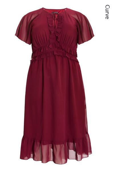 Curve Berry Chiffon Frill Midi Dress